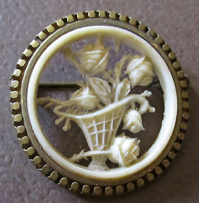 """Beautiful Victorian Carved Celluloid Pin Basket Of Roses In Brass Mount 1 5/8 """""""