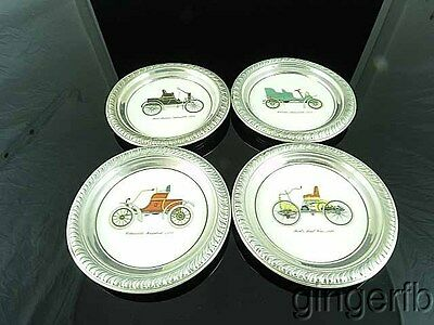 4 Saben Sterling Silver Drink Coaster With Antique Autos Cars  1896 - 1903