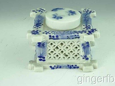 Reticulated Victorian Chinese Porcelain Inkwell Ca 1880