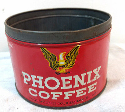 Phoenix Coffee Tin Hoosier For Indiana Water Advertising 1LB Graphic Antique VTG