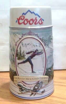 Coors Rocky Mountain Legend Series Ceramic Mug Stein 1991 Skiing