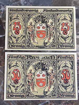 Lot of German Notgeld 25 & 50 Pfennig WWI German States Emergency Currency Notes