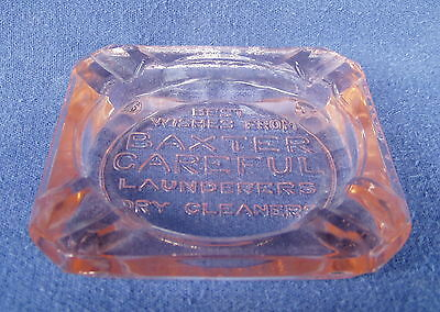 Pink Depression Glass Ashtray Advertising Baxter Careful Launderers Dry Cleaners