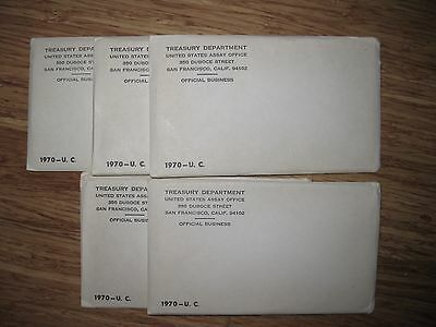 1970 5 Uncirculated Mint Sets 5 Denver and 5 Philadelphia SF Original Package