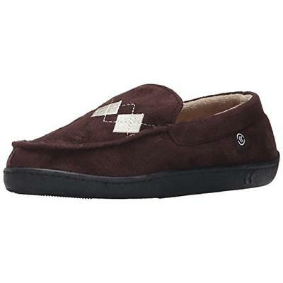 Isotoner 6979 Mens Brown Midcrosuede Moccasin Slippers Shoes XL 11-12 BHFO
