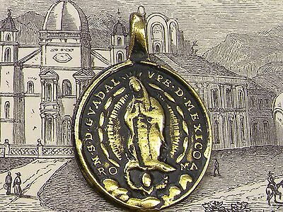 Antique Sacred Heart of Jesus &  Immaculate Heart Guadalupe Church Mexico Medal