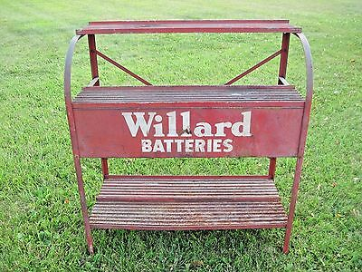 RARE Antique Vintage WILLARD BATTERIES Metal Battery Rack Gas Station Stand