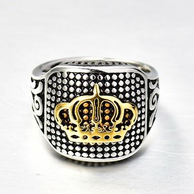 Fashion Gold King Crown Silver Stainless Steel Men's Wedding Band Ring Jewelry