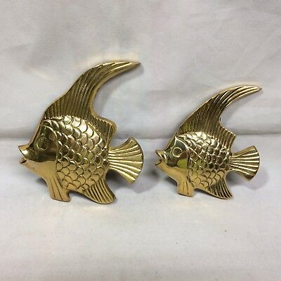 Vintage Solid Brass Wall Hanging Fish, Excellent Condition.