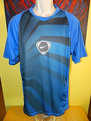 Men's Nike Dri-Fit Big Logo Soccer Jersey Short Sleeve Shirt Size Large Blue