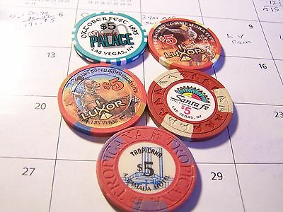 5-Nevada Card Room Poker Chips, See Narrative & Photo's. #a1