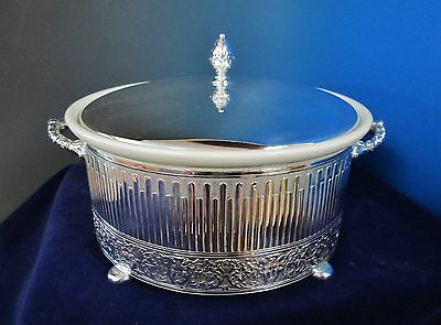 RENAISSANCE Covered Casserole Server Silverplate w/ Hall Bowl Satyr Devil Faces