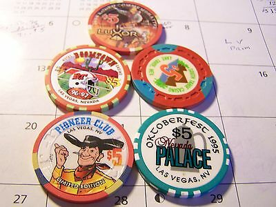 5-Nevada Card Room Poker Chips, See Narrative & Photo's. #a4
