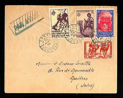 16803-SENEGAL-MAURITANIA-OLD COVER DAKAR to ASNIERES (france)1946.WWII.FRENCH.