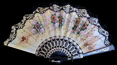 Ornate Blace Lace Floral  Fan Made In Spain