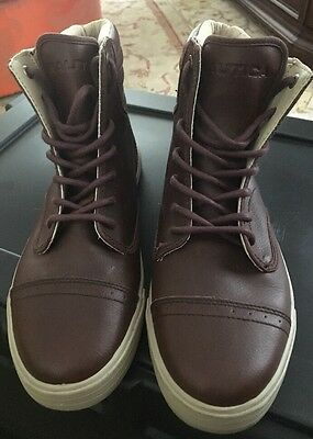 Nautica Mens SIZE 8 Shoes Brown Genuine Leather Casual High Top Boots School