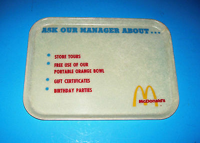 VINTAGE McDONALD'S RESTAURANT FAST FOOD TRAY PLATE