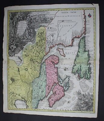 1740 Canada Newfoundland St Lawrence River map Karte Lotter Atlas America