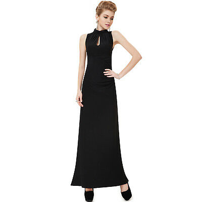 Womens Black Formal Evening Long Homecoming Dress Party Gown 08169 EP Size 16