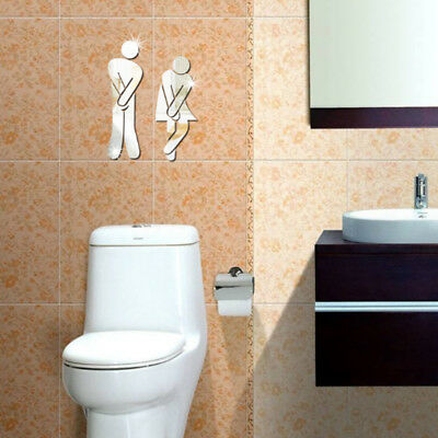 Diy 3d toilet wc removable decal art wall sticker mirror decor useful eur 1 10 picclick ie - Decor wc ...