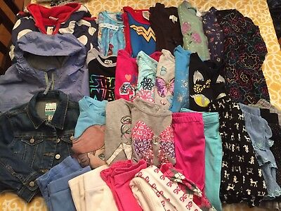 Girls Fall Winter Clothes Lot Of 32 Tops Dresses Pants Sets Size 4, 4/5, 5, 5/6
