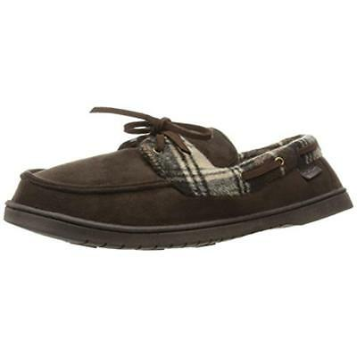 Dearfoams 1926 Mens Brown Microsuede Plaid Moccasin Slippers Shoes L 11-12 BHFO