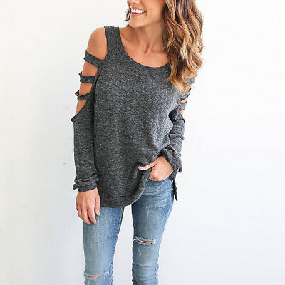 Grey S Women's Casual Shirts Off Shoulder Long Sleeve T Shirt Tee Tops Blouse