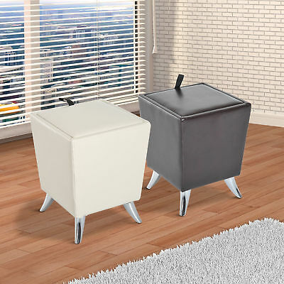 Storage Stool Cube Ottoman Footrest Faux Leather Metal Legs Seat