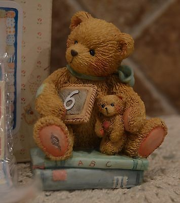 Cherished Teddies~Age 6 Figure~Chalking Up Six Wishes~1992~Euc~Cake Topper~Cute!