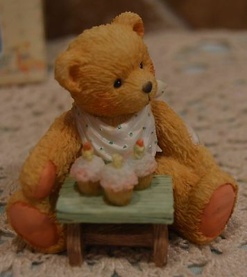 Cherished Teddies~Age 3 Figure~Three Cheers To You~1992~Euc~Cake Topper~Cute!