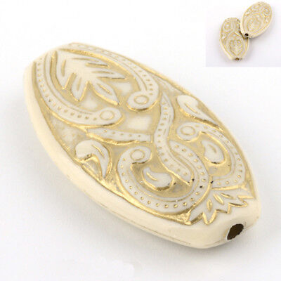 Oval Large Acrylic Plastic Vintage Antique Style  Beige Cream with Gold Beads B2