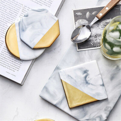 3 Styles Round Square Octagon Gold Marble Coaster Cup Mat Placemat Pad Holder
