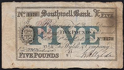 1873 SOUTHWELL BANK £5 BANKNOTE * Y 170 * aF * Outing 2009c *