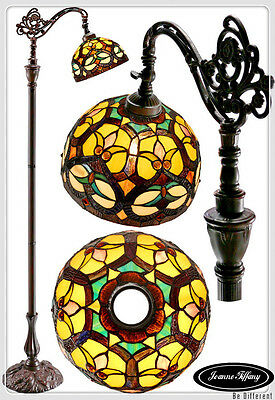 Ornamental Tiffany Style Leadlight  Bridge Arm Floor Lamp