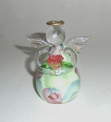 """Sweet 3-1/2"""" Blown Glass Angel Figurine with Applied and Eglomise Decoration"""