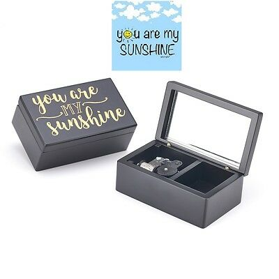 Wooden Black Rectangle Engrave Music Box  ♫ You Are My Sunshine  ♫
