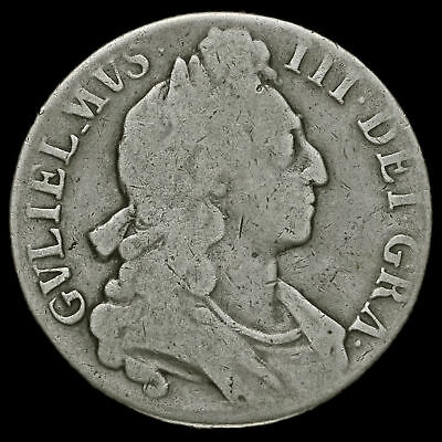 1696 William III Early Milled Silver Octavo Crown, First Bust, Near Fine