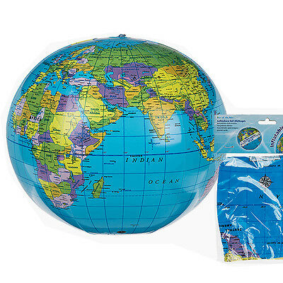 Inflatable Globe Atlas World Map 30Cm Earth Blow Up Ball Toy Educational Learn