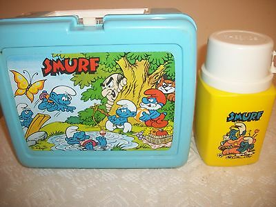 Vintage THERMOS Smurfs Blue Lunch Box & Thermos Made In USA