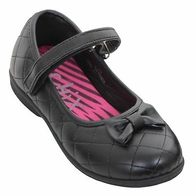 Kids Girls Back To School Smart Quilted Bow Faux Leather Thin Strap Flat Shoes