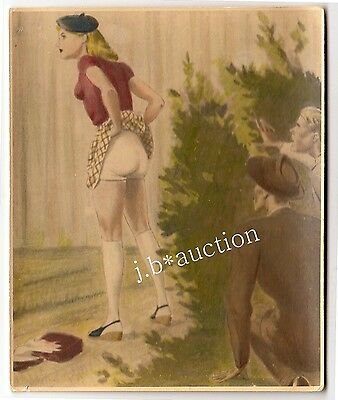 YOUNG WOMAN PULLING SKIRT f GAPING MEN * Vintage 30s Photo of Erotic Watercolor