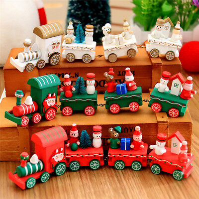 4Piece Carriage Wood Christmas Xmas Train Ornament Decoration Kids Gift Toys