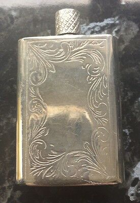 Vintage engraved silver plate perfume/scent bottle/flask with dauber