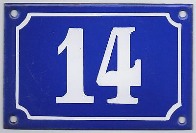 Old blue French house number 14 door gate plate plaque enamel steel metal sign