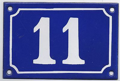 Old blue French house number 11 door gate plate plaque enamel steel metal sign