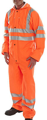 BSeen PU Waterproof Orange High Visibility Overalls Coveralls Boiler Suit Rail