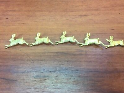 5 Vintage Victorian Brass Bunny Rabbits Craft Decorations Steampunk Accessories