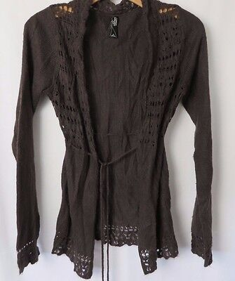 Old Navy Maternity Cardigan Sweater Lightweight Brown String Tie Size S #5097