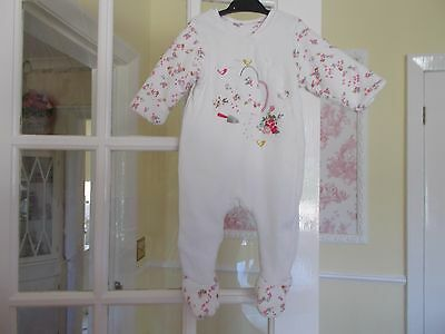 Baby Girls Mothercare White Velour & Embroidery Pram / Play Suit 6 -9 Months