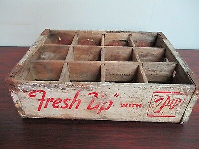 Vintage 7 UP Wooden Soda Pop Crate 12 Bottle or Can Crate with Logo and Handles